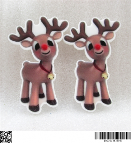 5 X 31MM RUDOLPH CHRISTMAS XMAS LASER CUT FLAT BACK RESIN HEADBANDS BOWS CARD MAKING PLAQUES